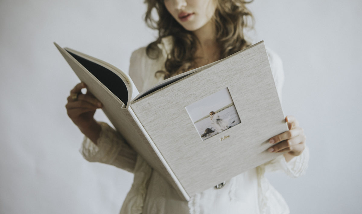 Fine art wedding photo album for destination weddings in Europe