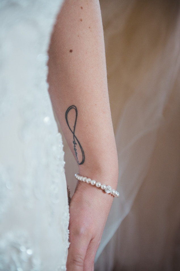 infinity tattoo on bride arm in austria