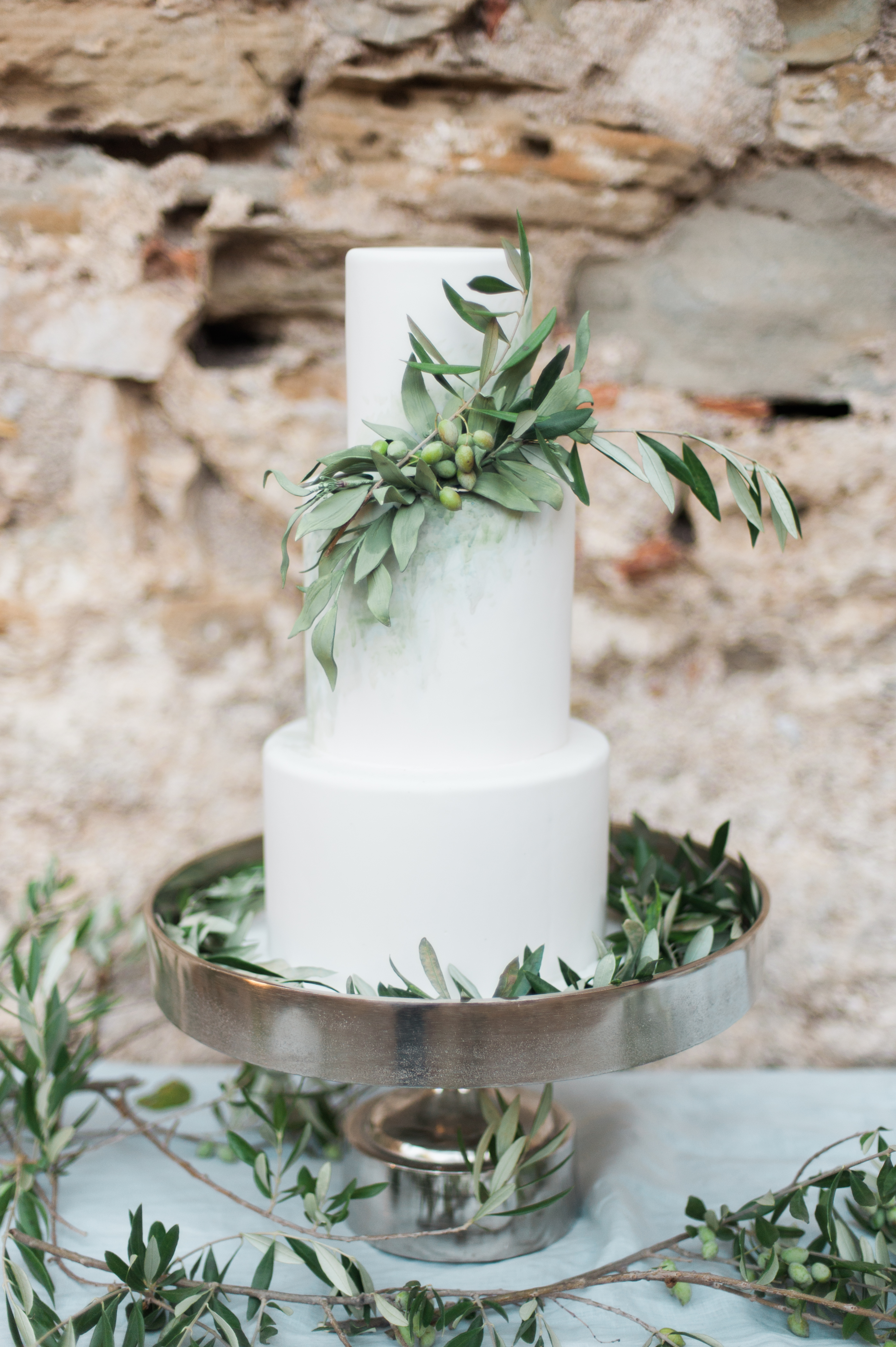 olive themed wedding cake in greece