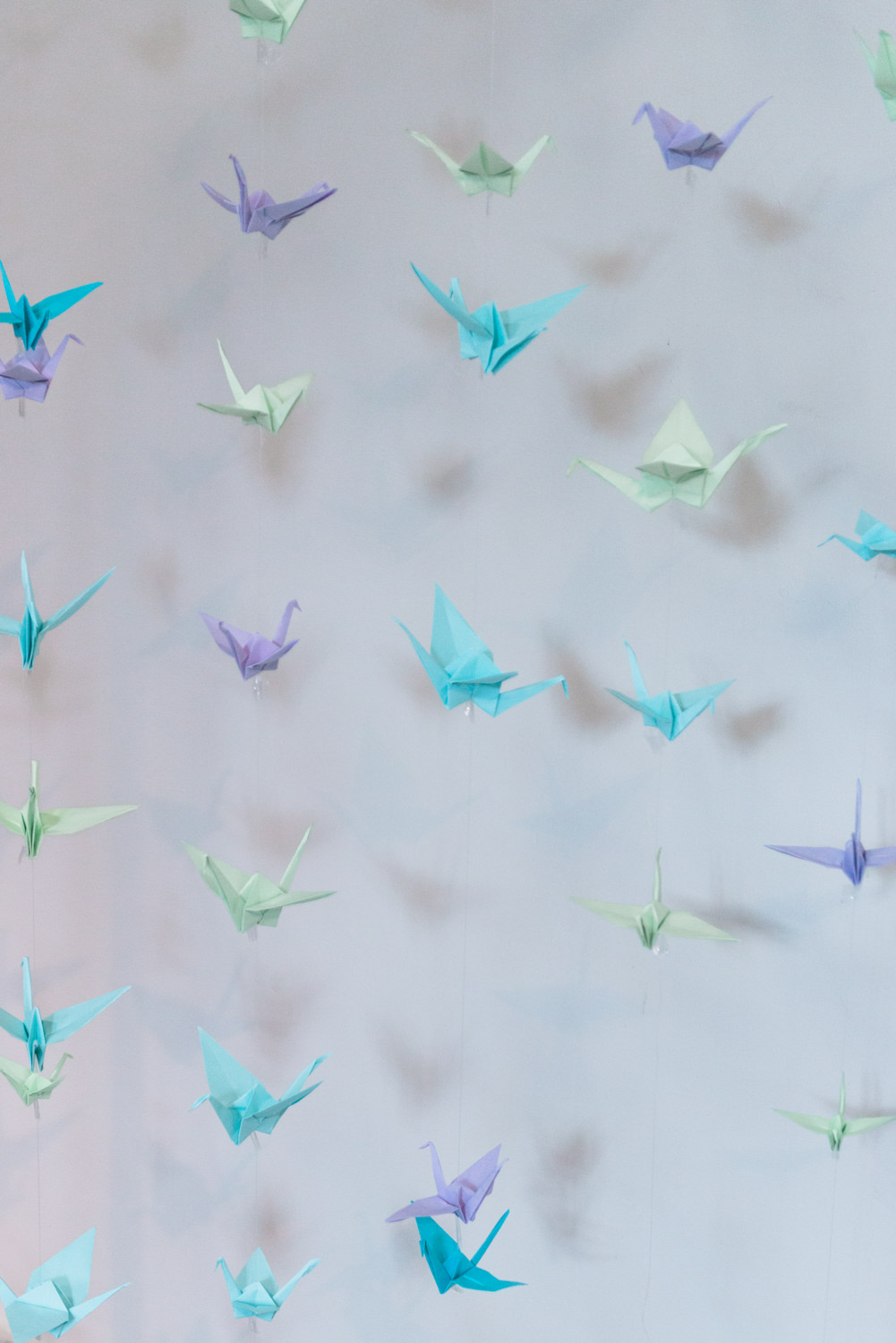 Origami crane birds at a wedding in Belgium