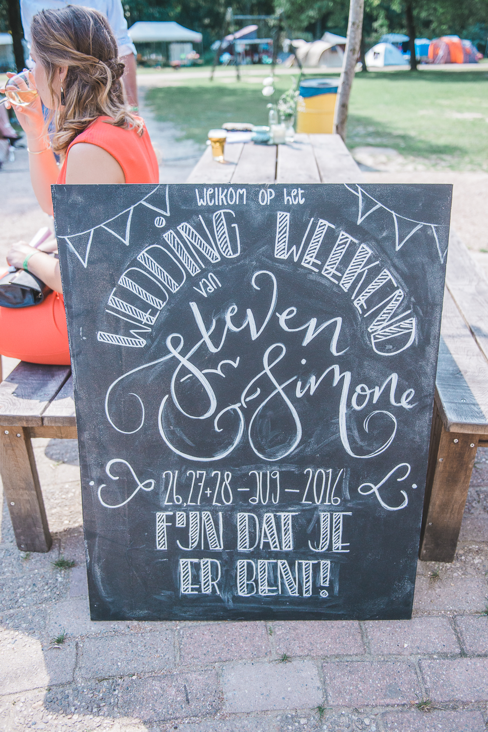 Handlettered chalkboard welcome sign for a wedding
