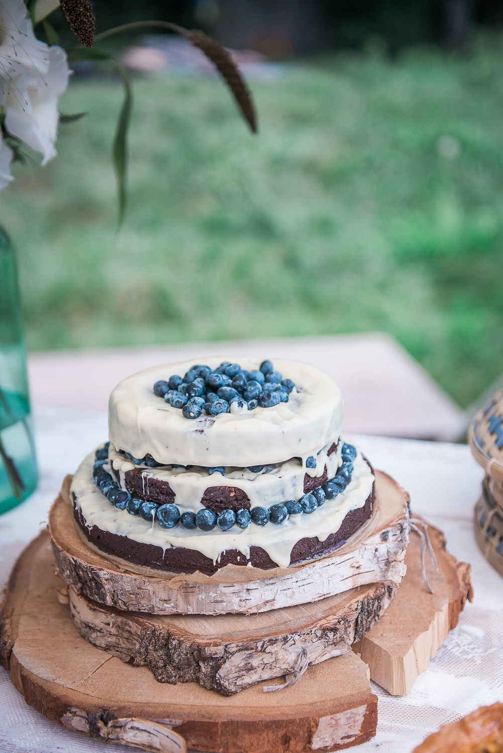 Delicious home made wedding cake with blue berries