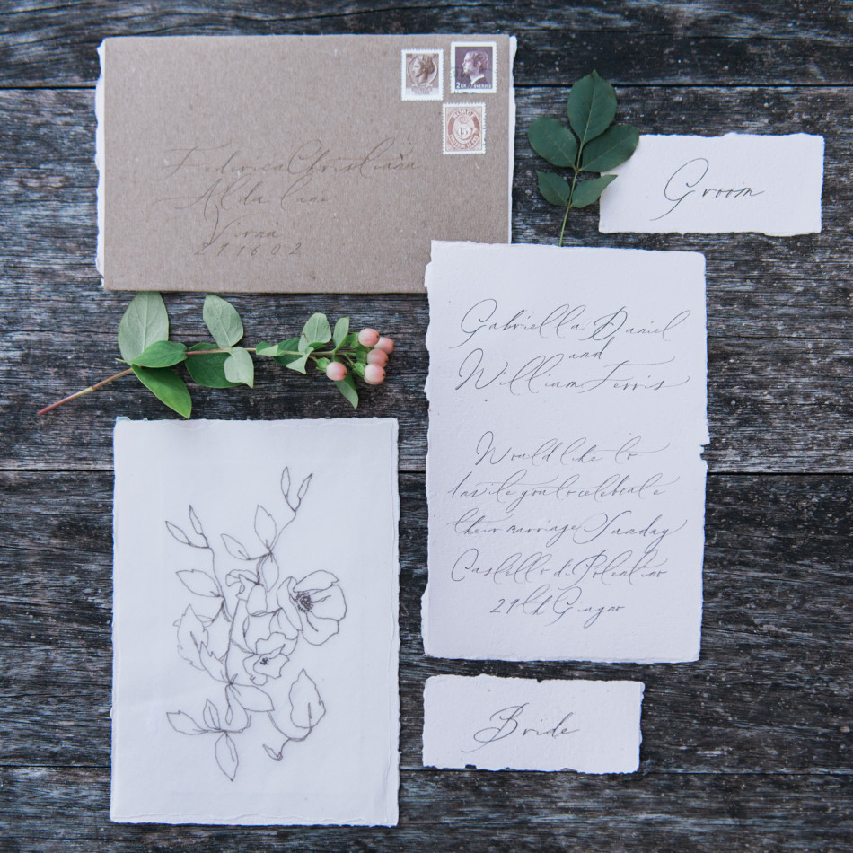 Stationery calligraphed by Little North Sea Studio