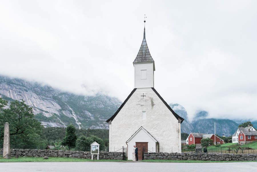 white village church in eidfjord in norway