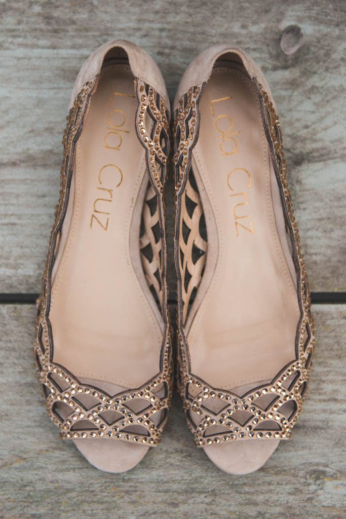 Lola Cruz wedding sandals with rhinestones in a neutral sand color from BHLDN