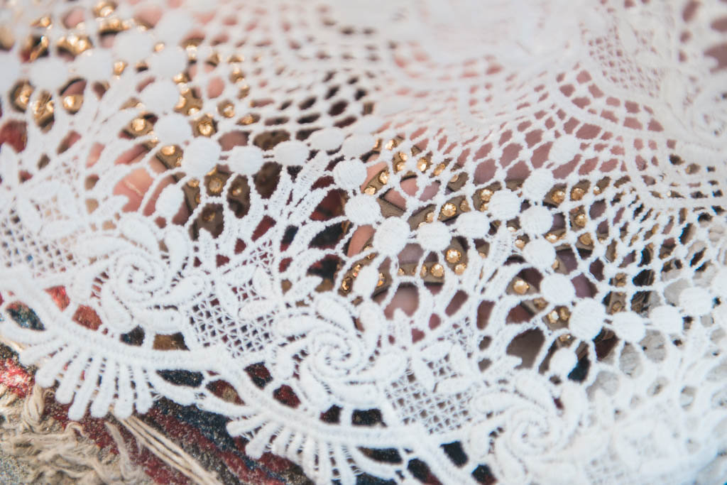 Detail shot of a Daughters of Simone bohemian wedding dress