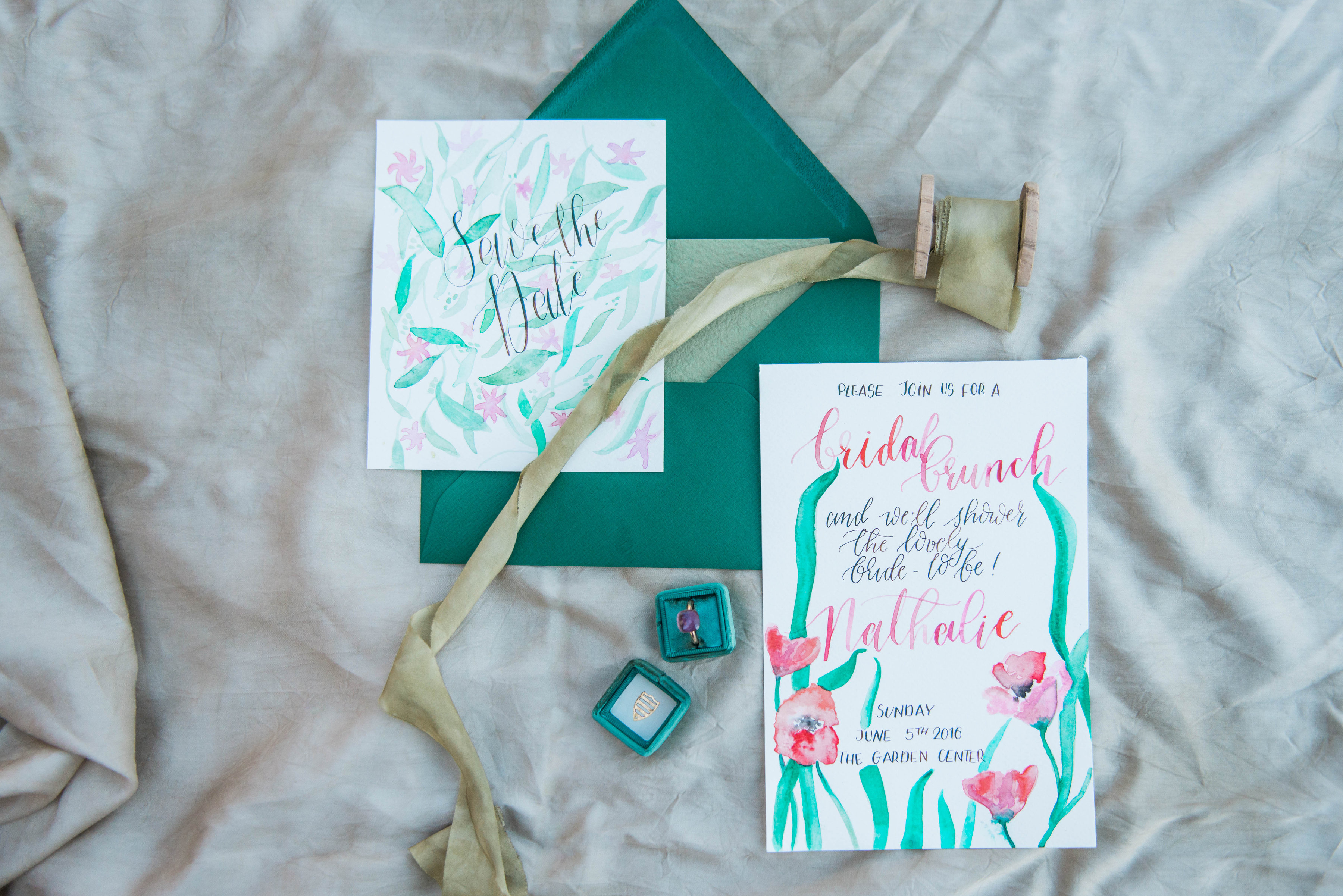 Bridal Shower stationery by Studio Blauw Moderne Kaligrafie