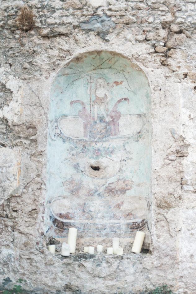 Ancient pastel colored altar at Casino di Mare in Santa Maria di Castellabate on the Cilento coast in Italy