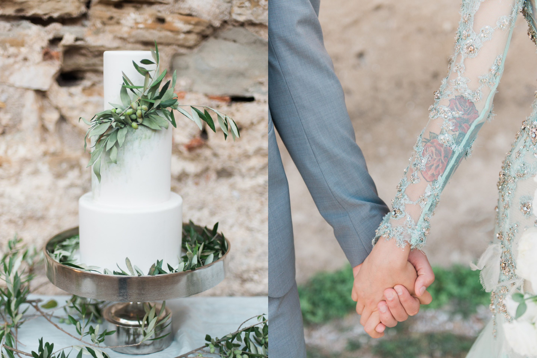 Trouw details zoals een taart op een fantastische bruiloft in Griekenland