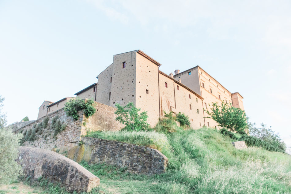 Castello di Potentino shot from a low point of view