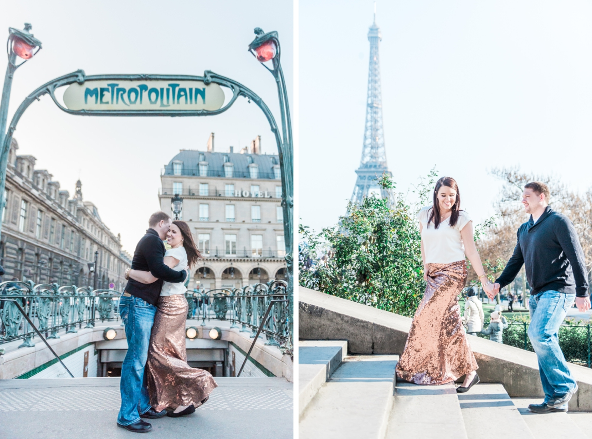 A couple walking on the stairs of the Trocadero near the Eiffel tower during a photo shoot with a Paris wedding photographer
