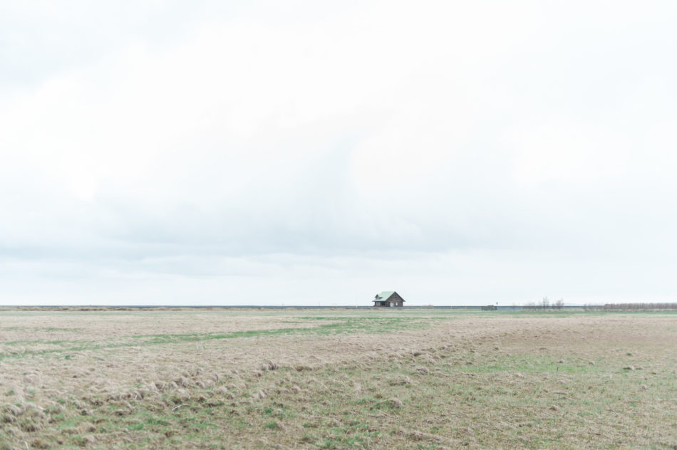 Lonely mint green house on a plain in Iceland