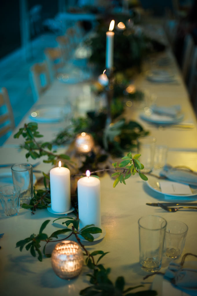 A dinner table at a destination wedding in Greece