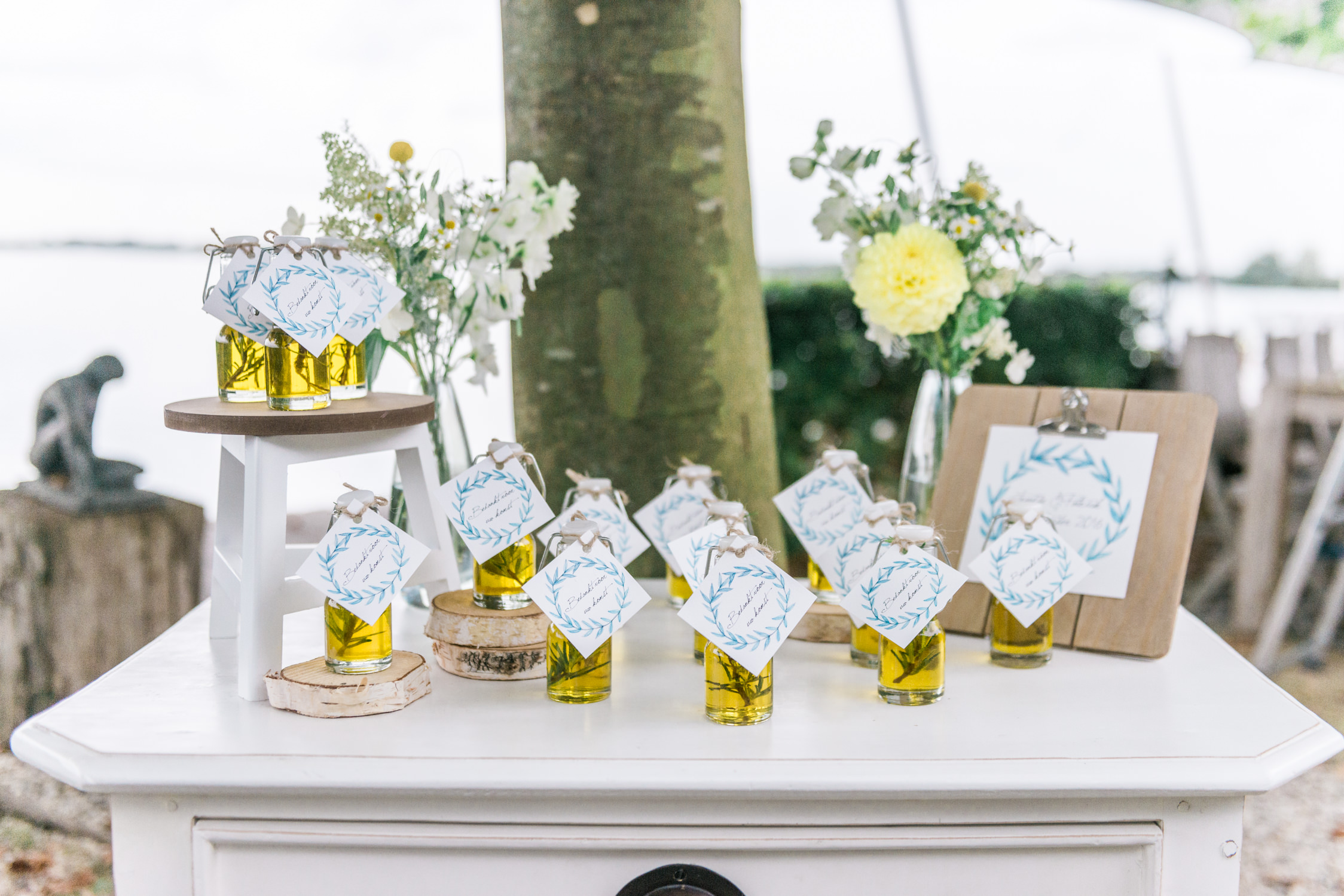 Olive oil bottles used as a giveaway at a destination wedding in Greece