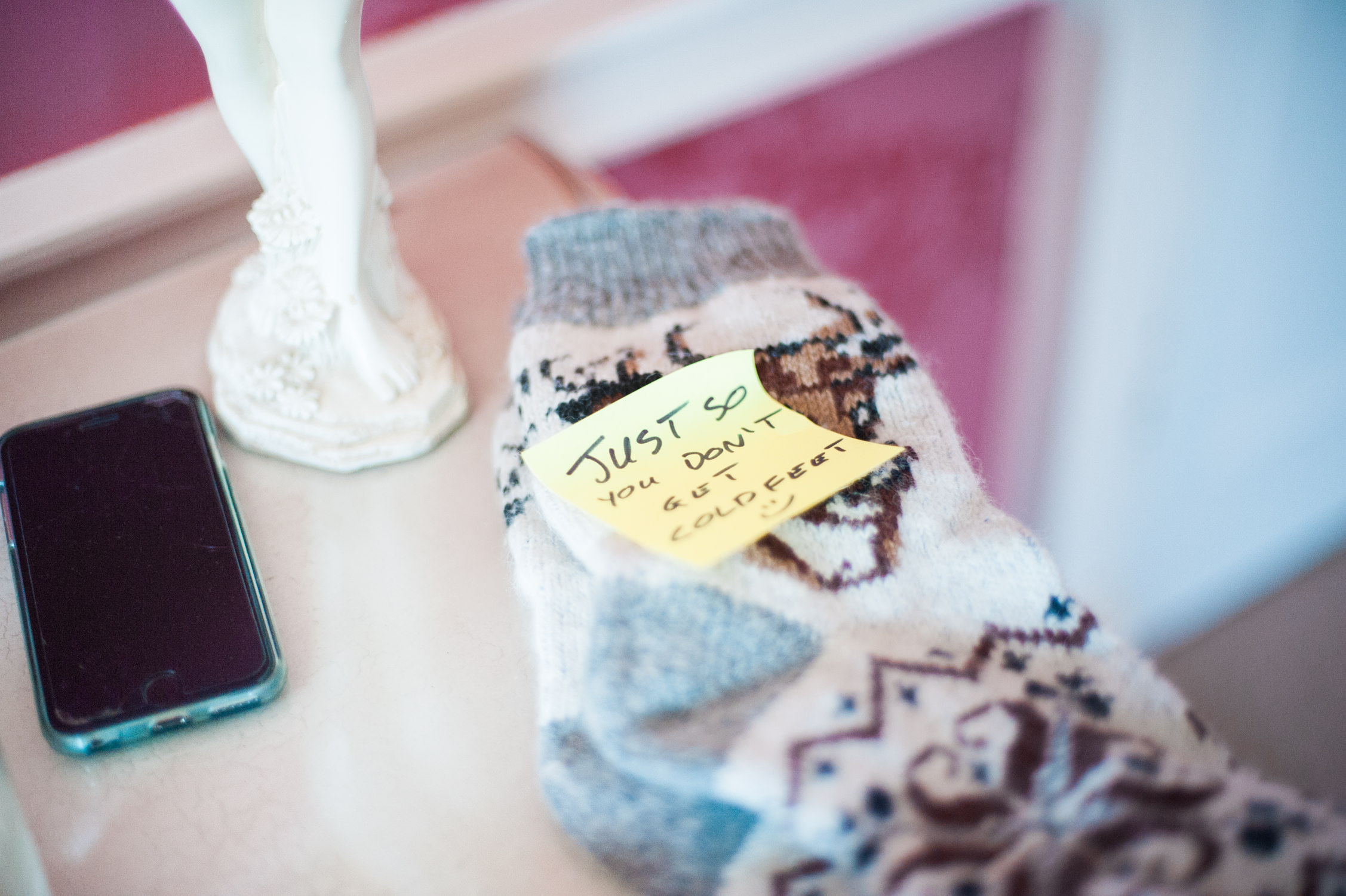 Socks for a bride and groom at Drumtochty Castle
