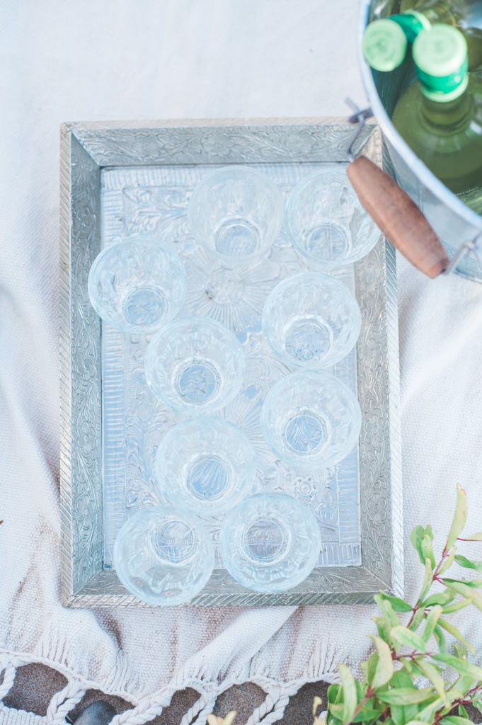 Glasses on a tray at a wedding picknick