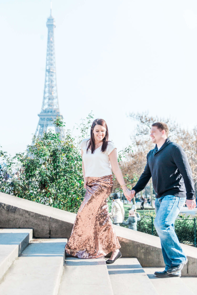 Couple shoot in Paris with the Eiffel tower captured in the background by the Paris elopement photographer