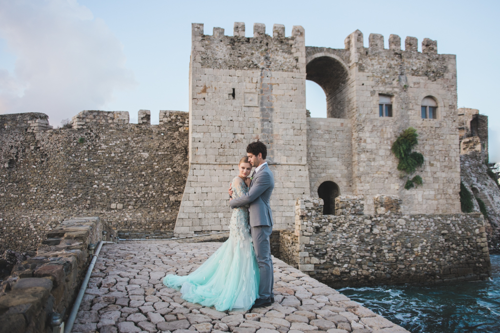A collection of subtilely colored wedding dresses