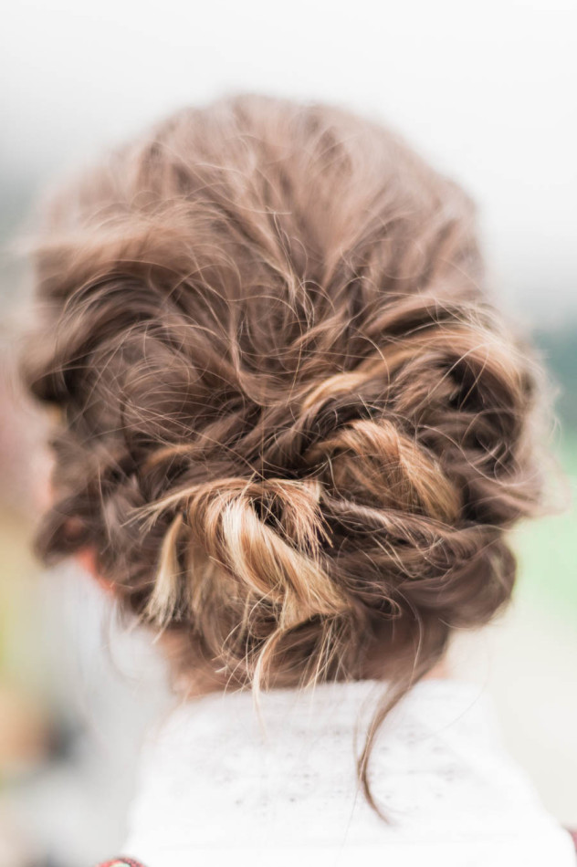 Beautifully braided and styled hair on a bride in Norway