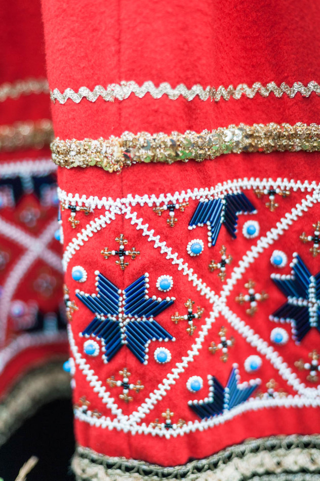 Detail of the beads on a traditional Norwegian wedding dress, called a bunad