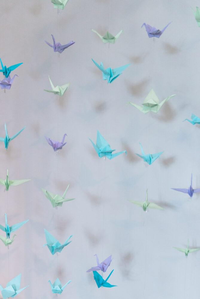 Origami crane birds at a wedding in Belgium