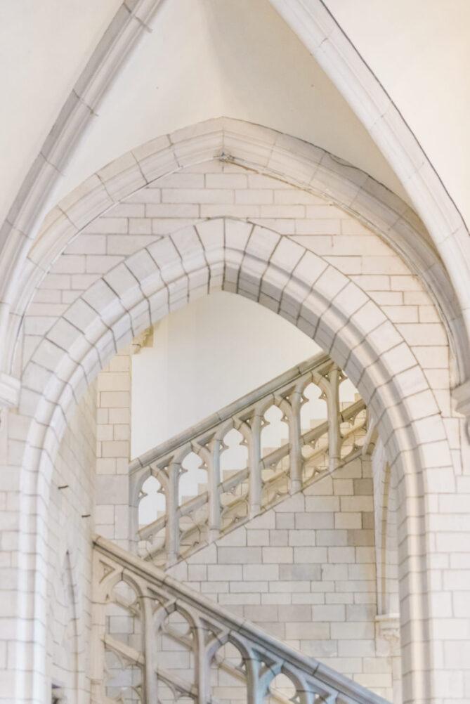 White interior of the Mechelen city hall in Belgium