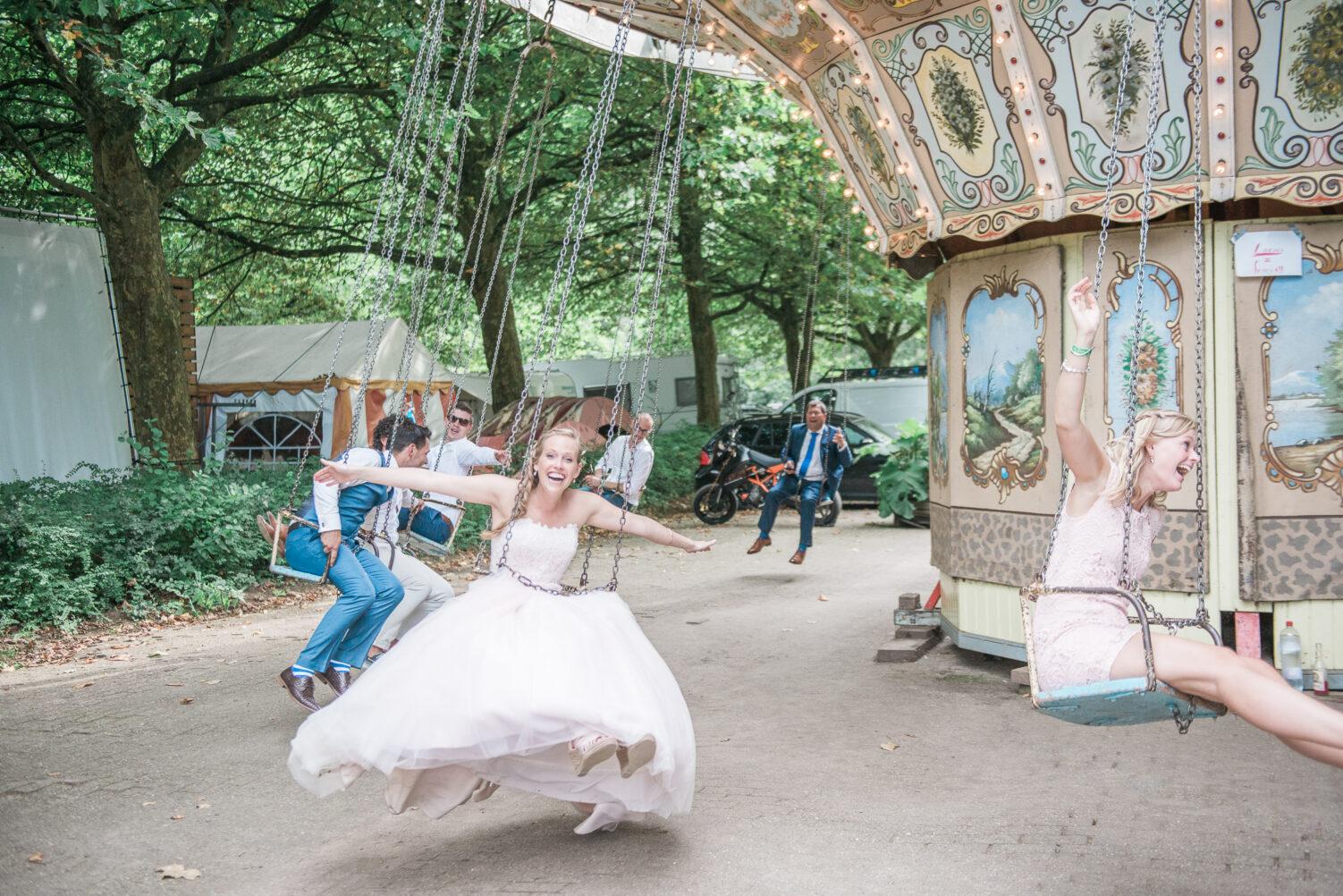 Bride in a carousel
