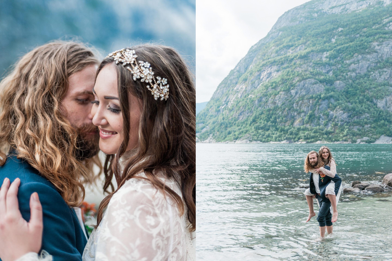Bruidspaar op een gezellige relaxte bruiloft in Noorwegen