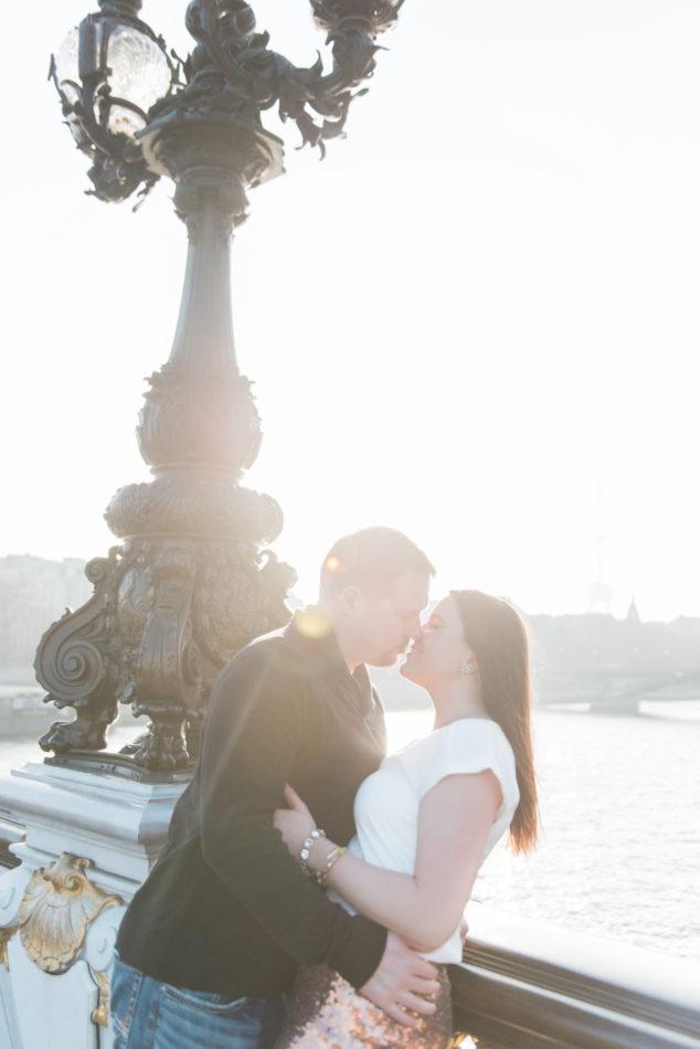 Love shoot in Paris on the Pont Alexandre captured by a Paris photographer