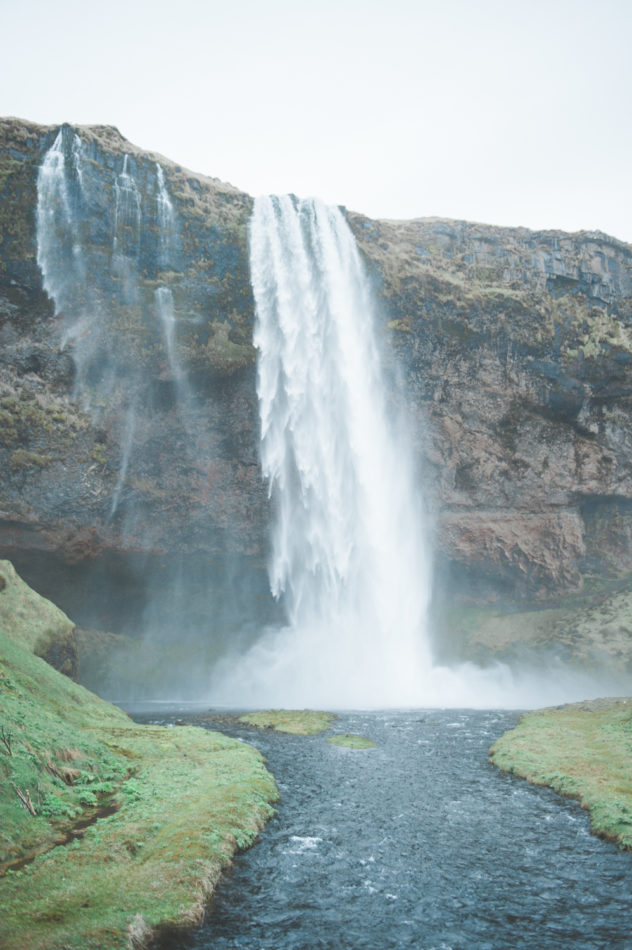Waterfall near Black Sand Beach in Iceland