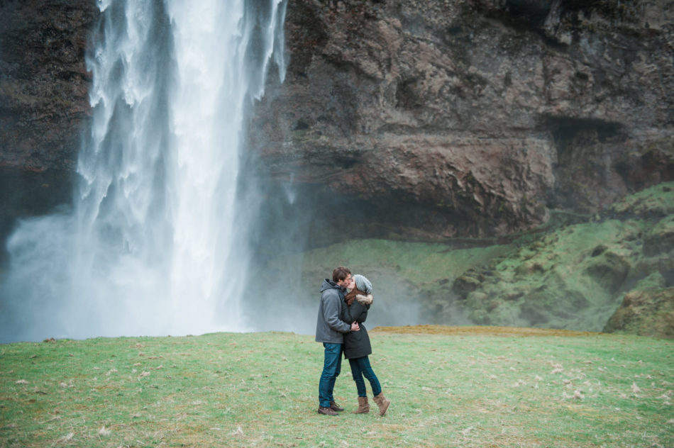 Engagement session near a waterfall