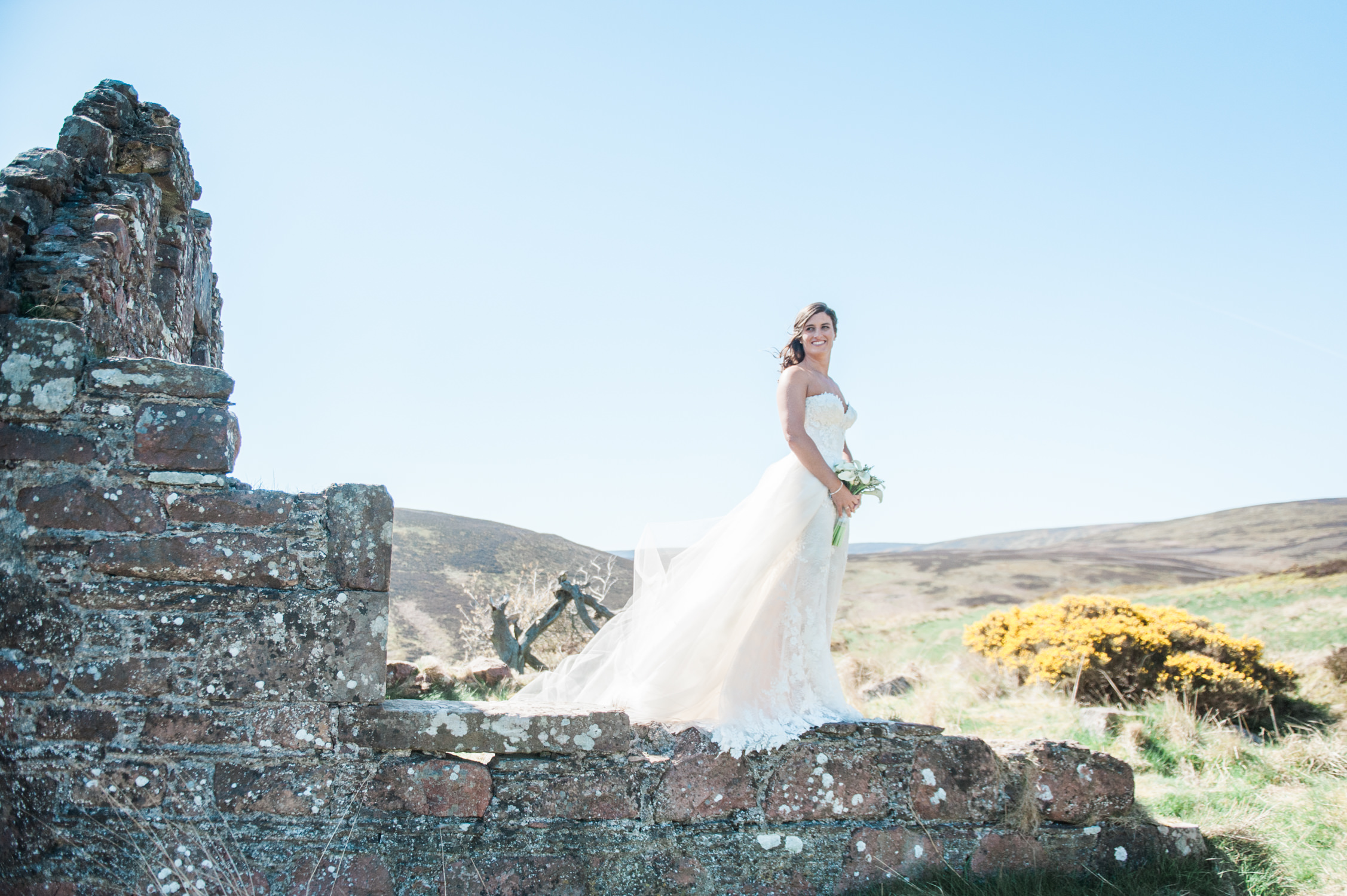 A bride photographed at her wedding at Drumtochty Castle