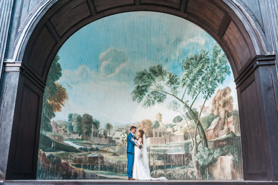 A bride and groom at Larmer Tree Gardens