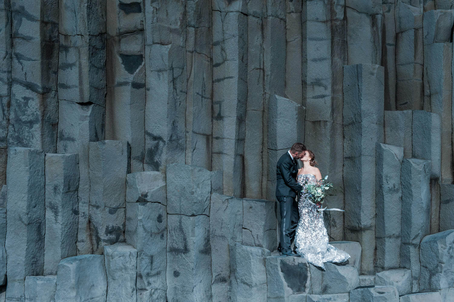 An elopement in Iceland at the black sand beach near Vik