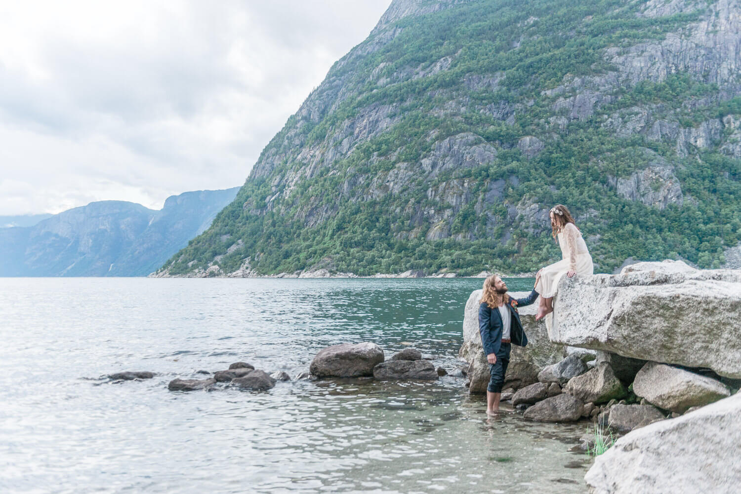 A bride and groom photographed during their elopement in Norway