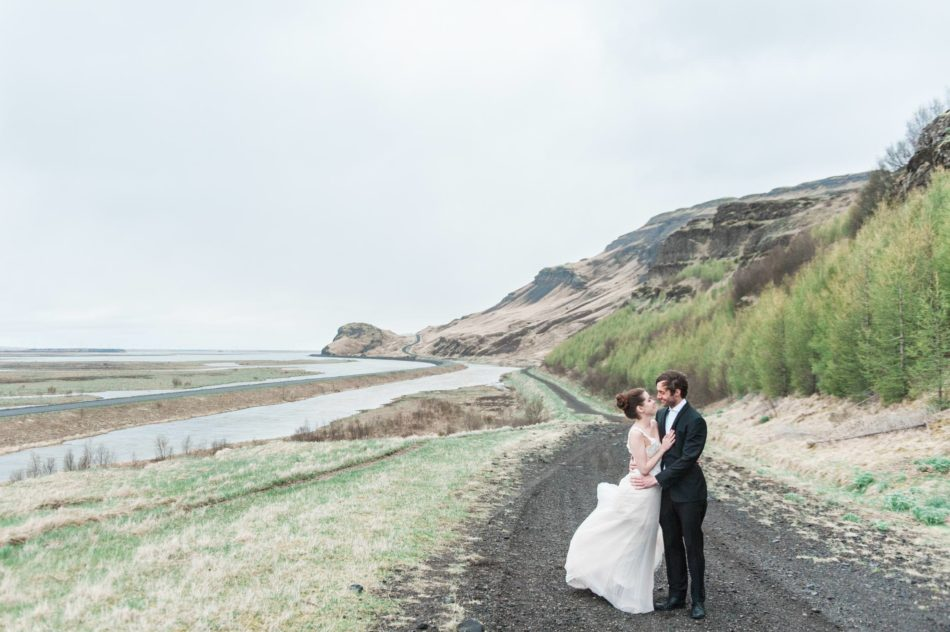 Bride and groom in an Icelandic landscape