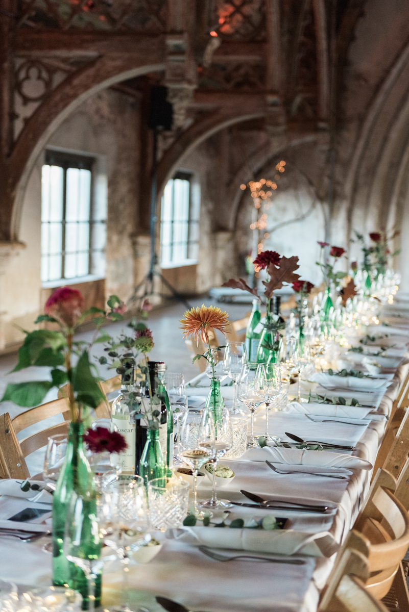 Dinner set up at the Metaal Kathedraal during a wedding