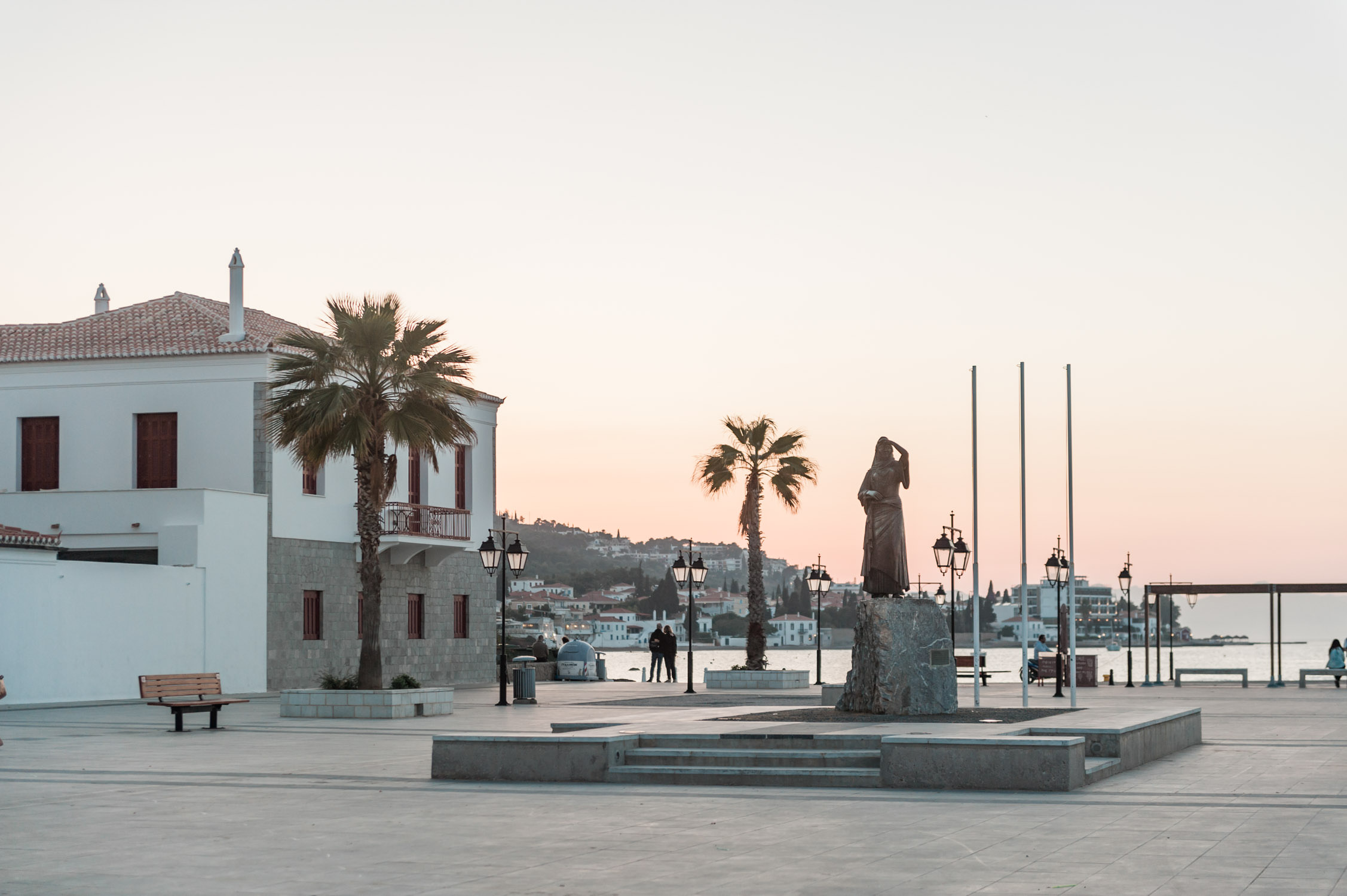A square on Spetses during sunrise