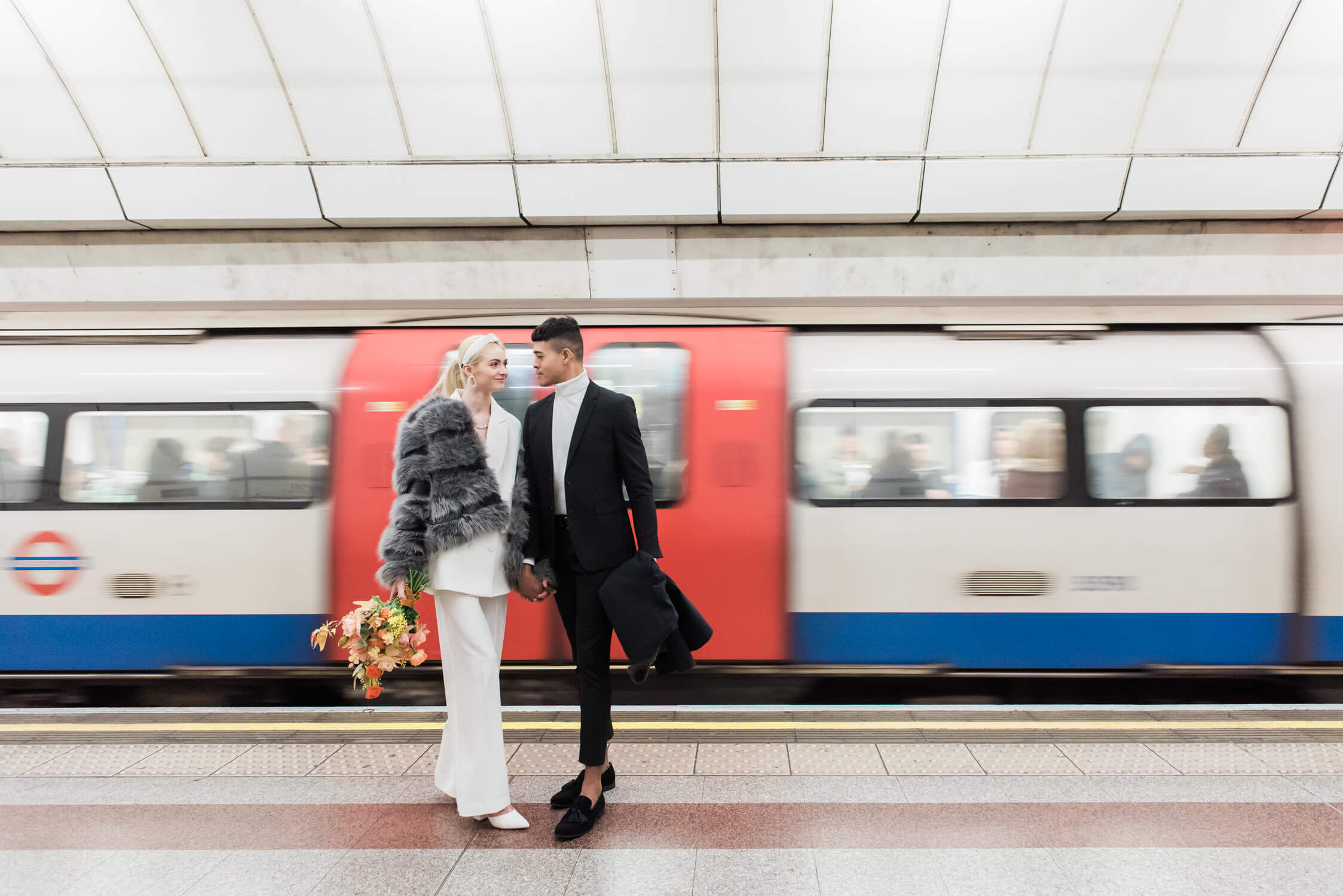 Elopement couple in the London underground