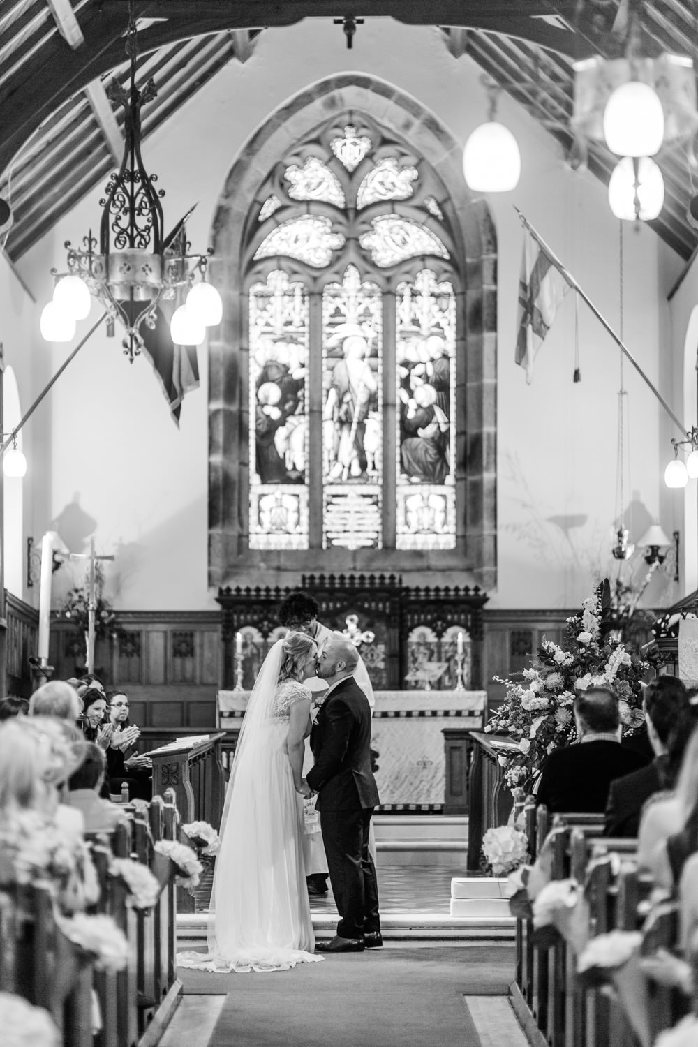 A bride and groom at St Peter's Church in Guernsey