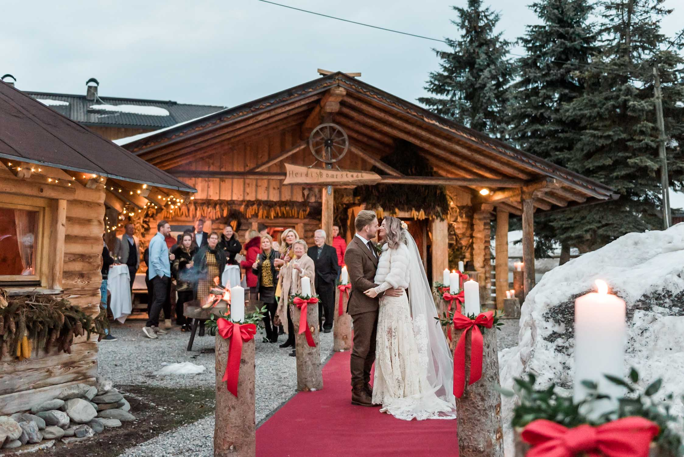 A bride and groom at their destination winter wedding in Westendorf, Tyrol, Austria. Captured by a destination wedding photographer for intimate weddings and elopements in Europe