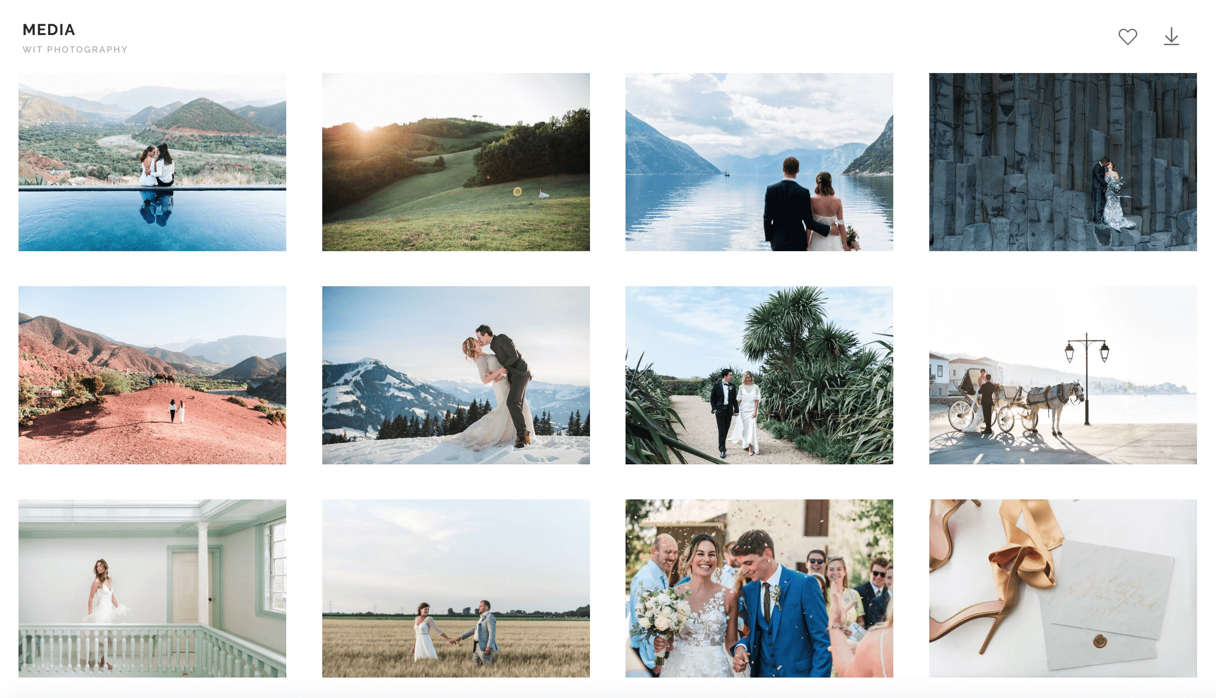 Visual content: Online gallery for press and media who write and interview trendwatcher and expert about destination weddings, elopements, wedding photography and travel.