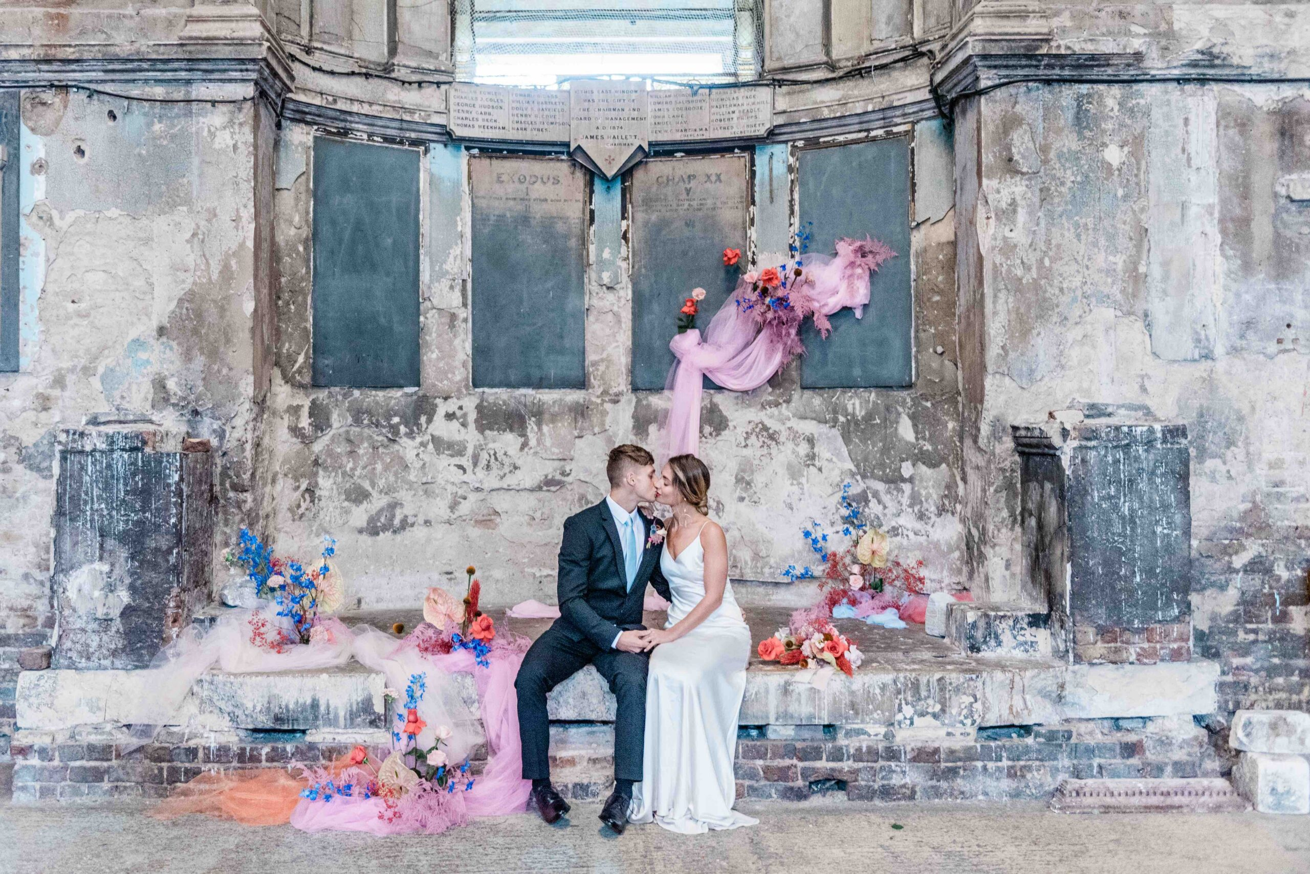 A bride and groom at Mavericks Projects' Asylum Chapel in London