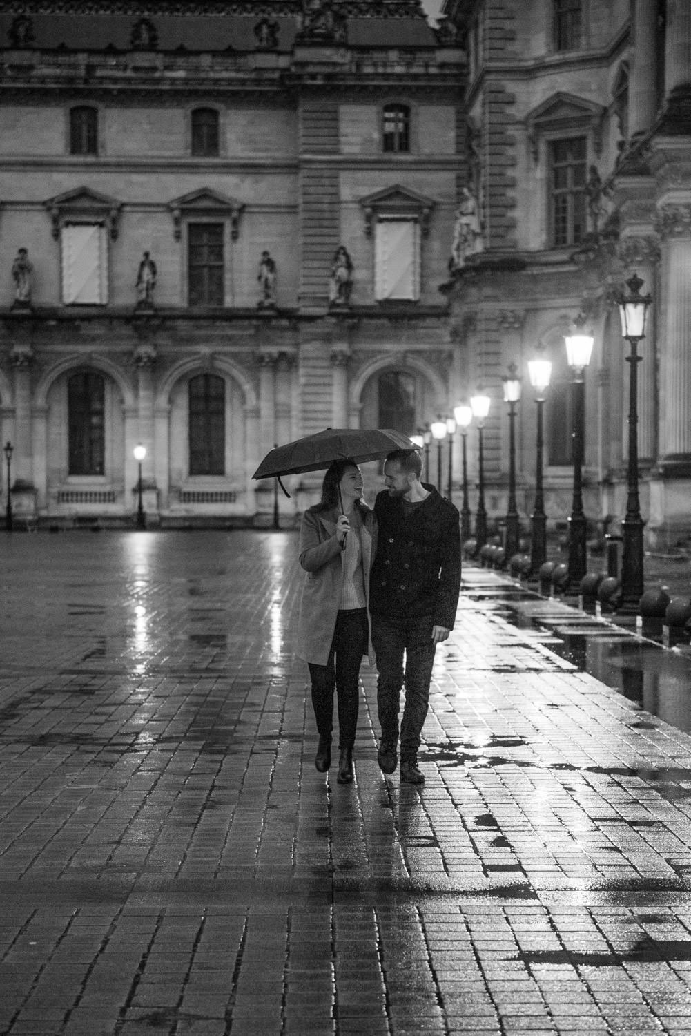 Place du Louvre, the scene for an engagement session at night