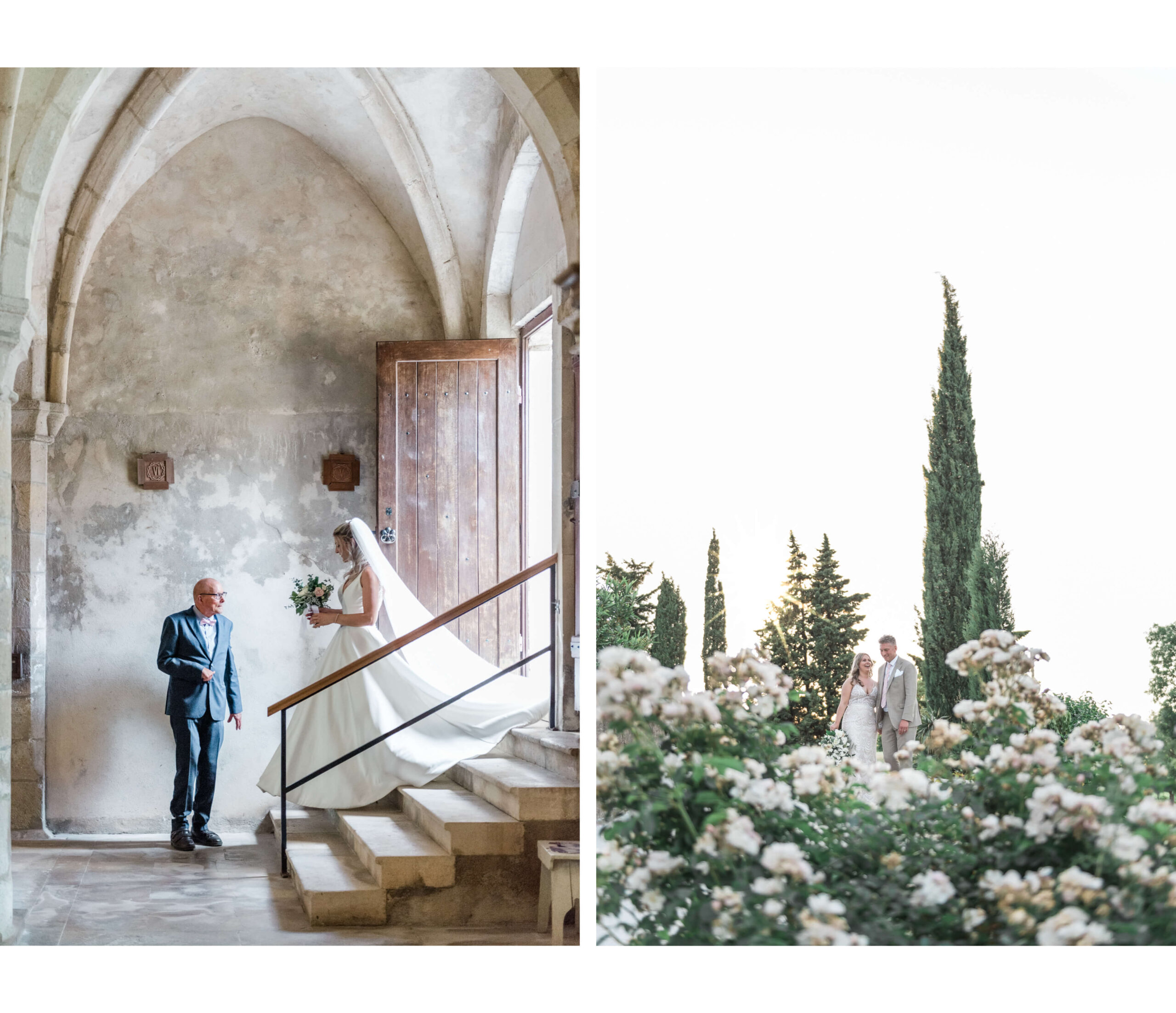 Weddings in France - A bride walking into church towards her father and a bride and groom smiling next to a cypress