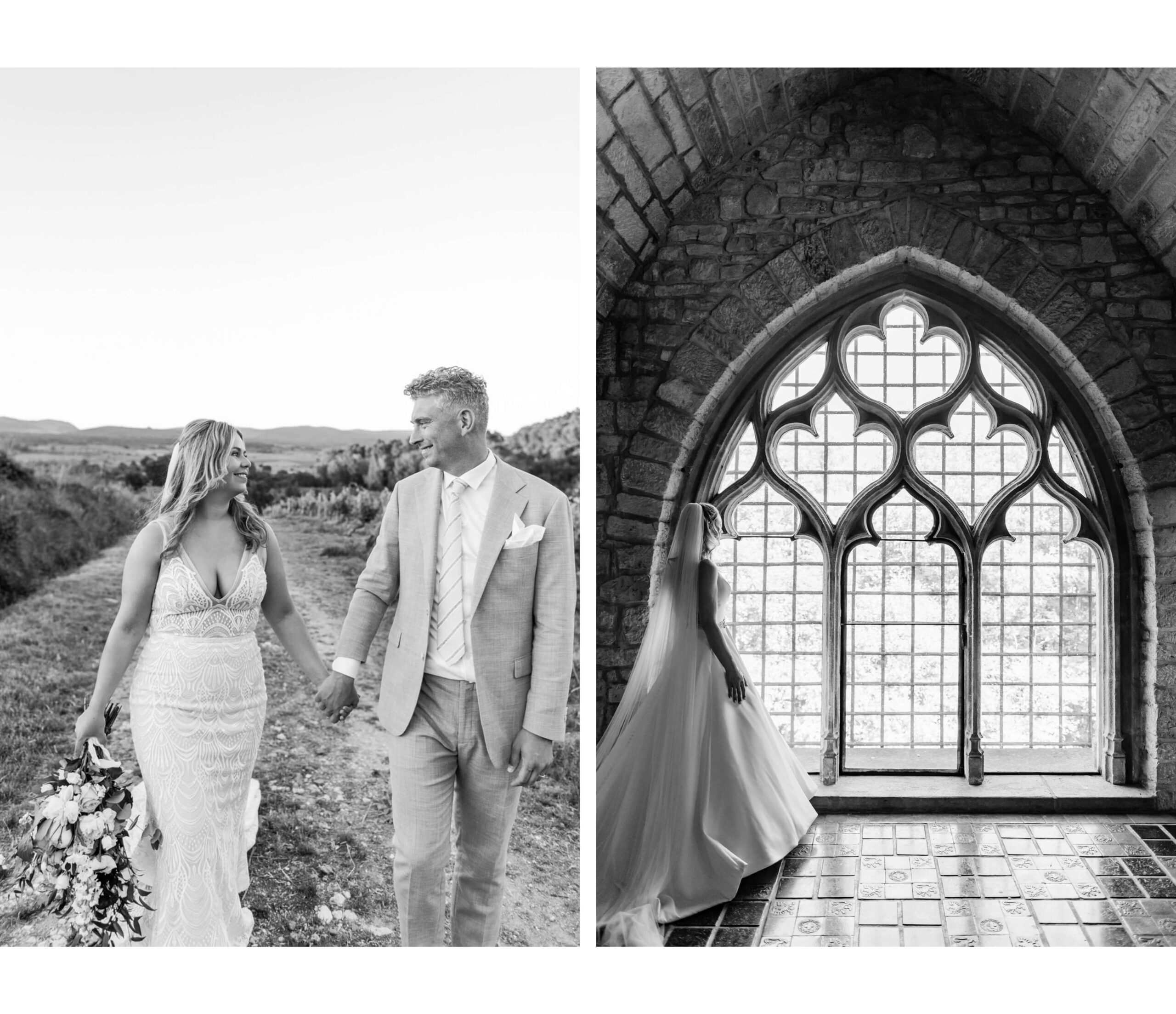 Black and white wedding photography in France