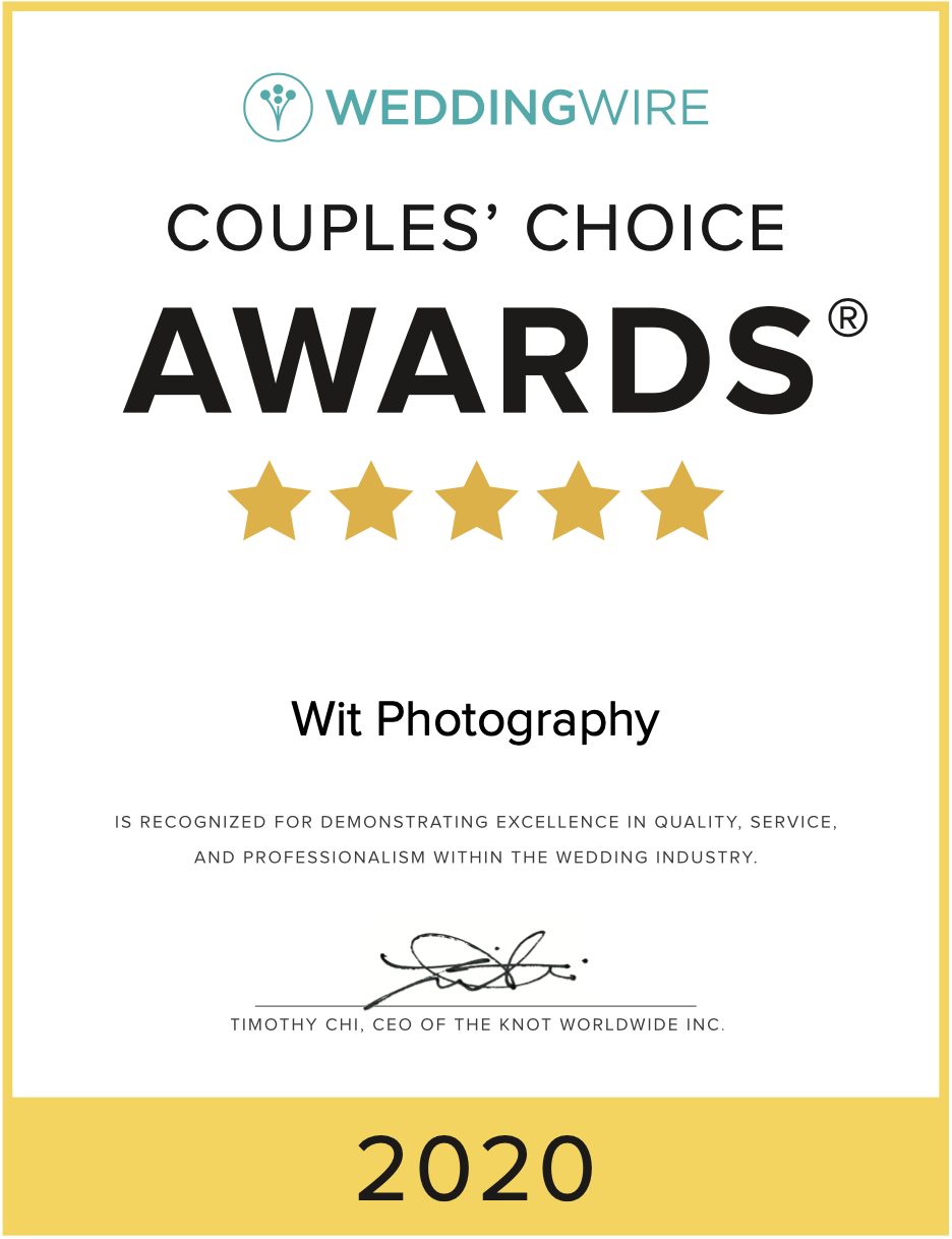 Certificate that Wit Photography won the 2020 Couples Choice Award