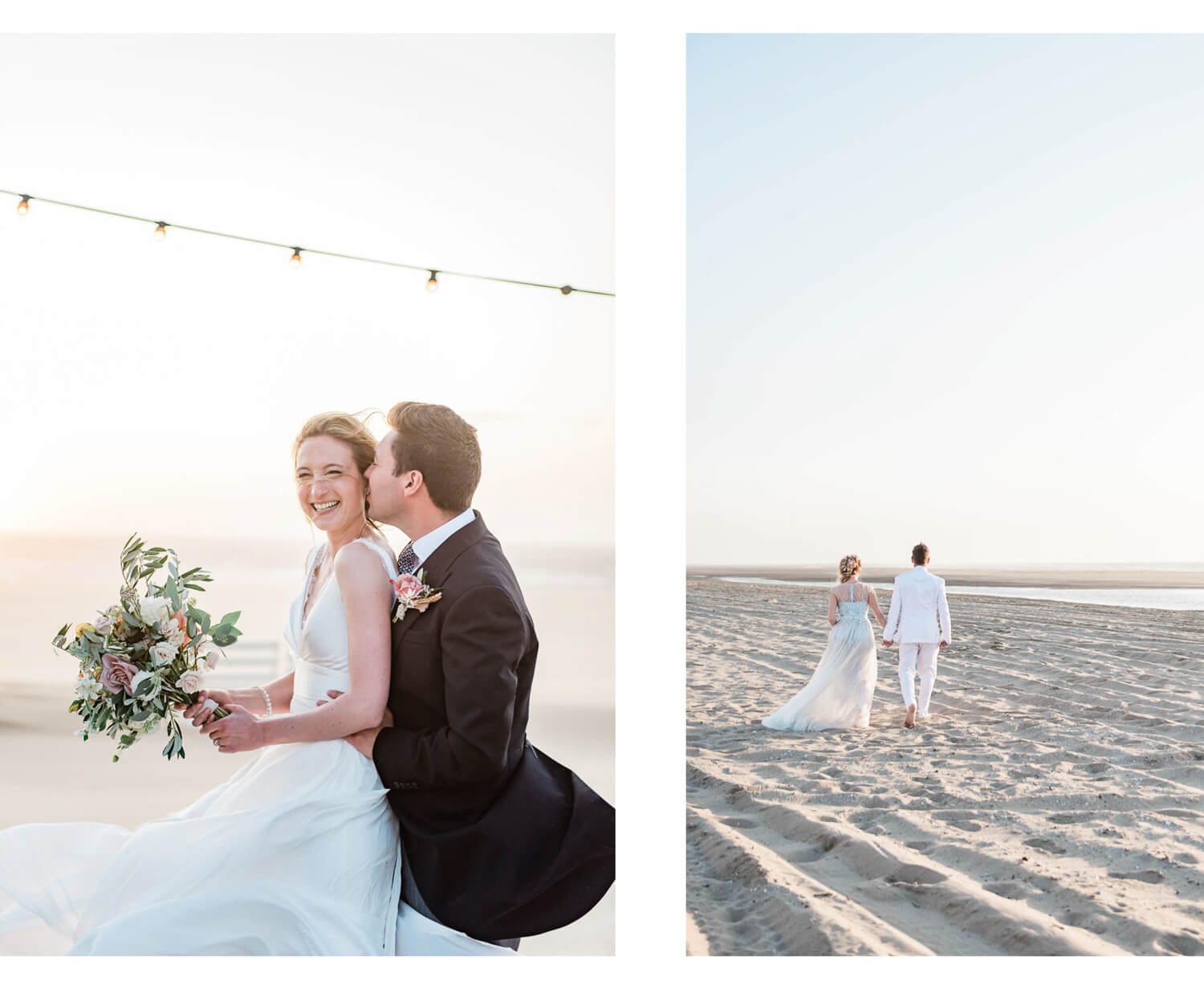 Netherlands wedding photography of a bride and groom on The Hague beach in Scheveningen