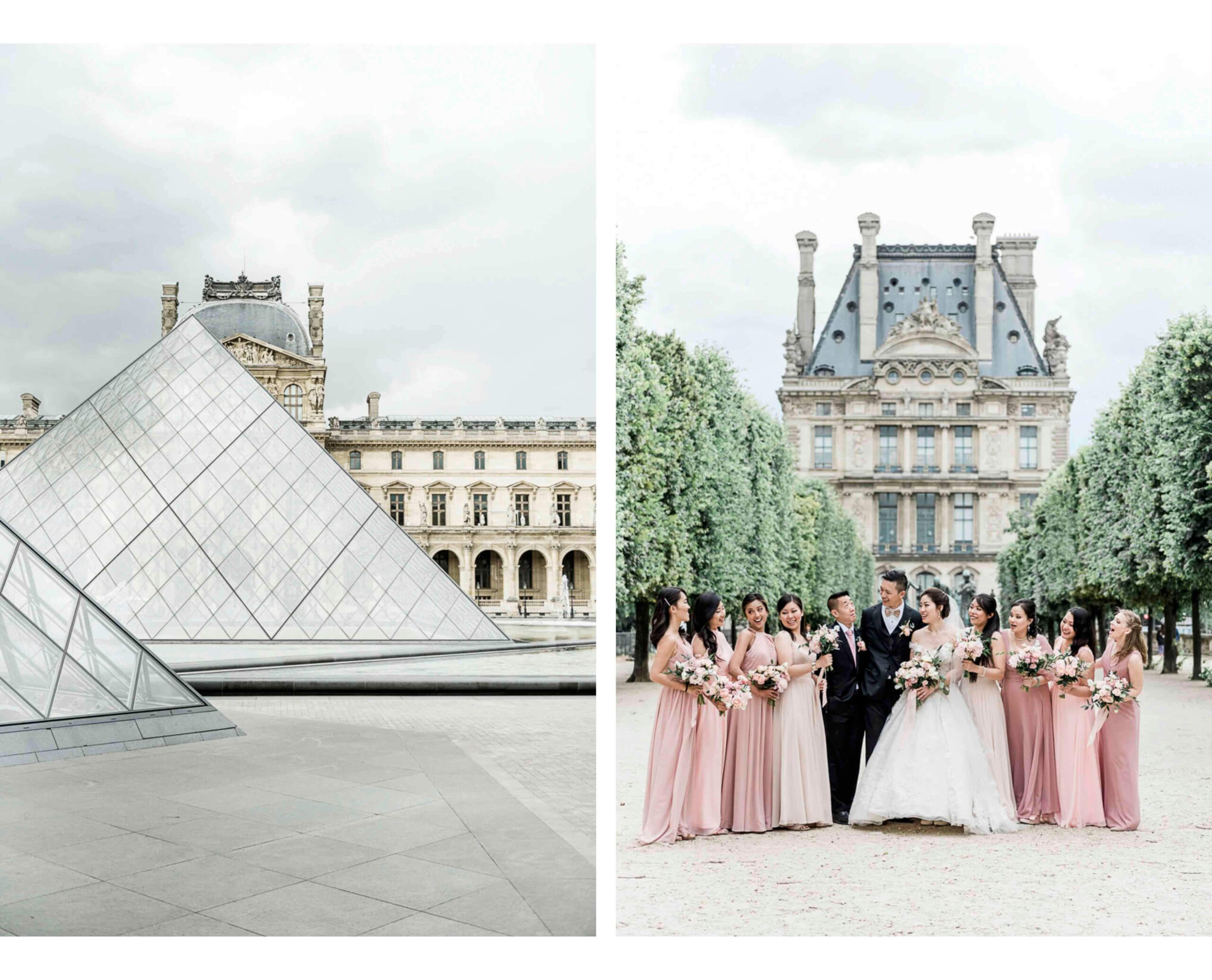 Wedding photography at Louvre Paris and Tuileries Gardens