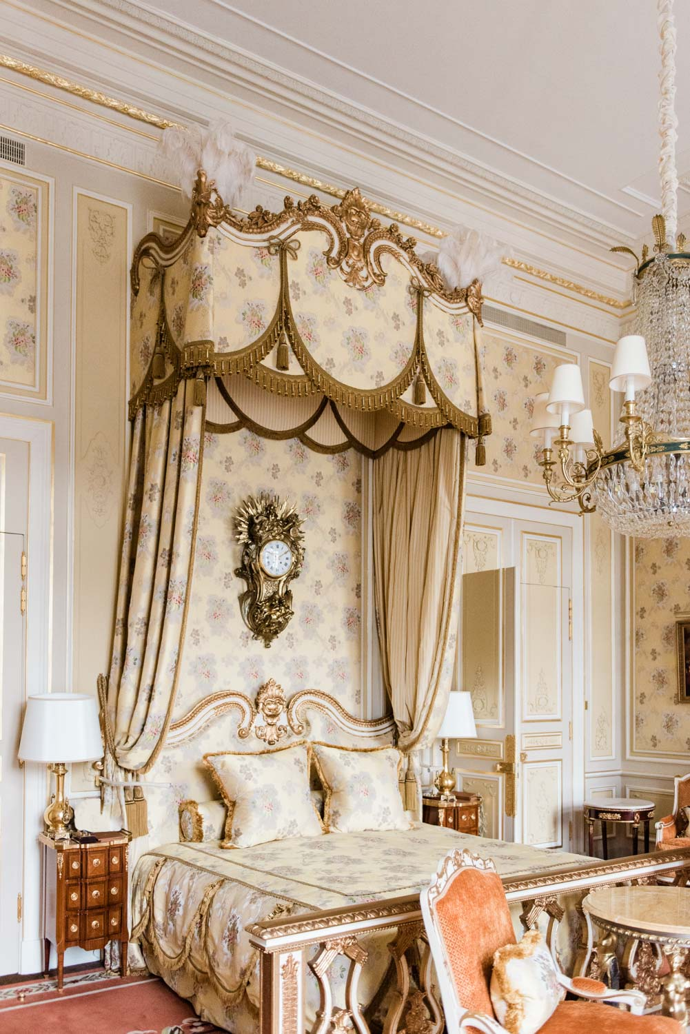 The Suite Imperial in The Ritz Hotel in Paris, a replica of Marie Antoinette's suite at Versailles
